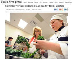 Cafeteria workers learn to make healthy from-scratch entrees